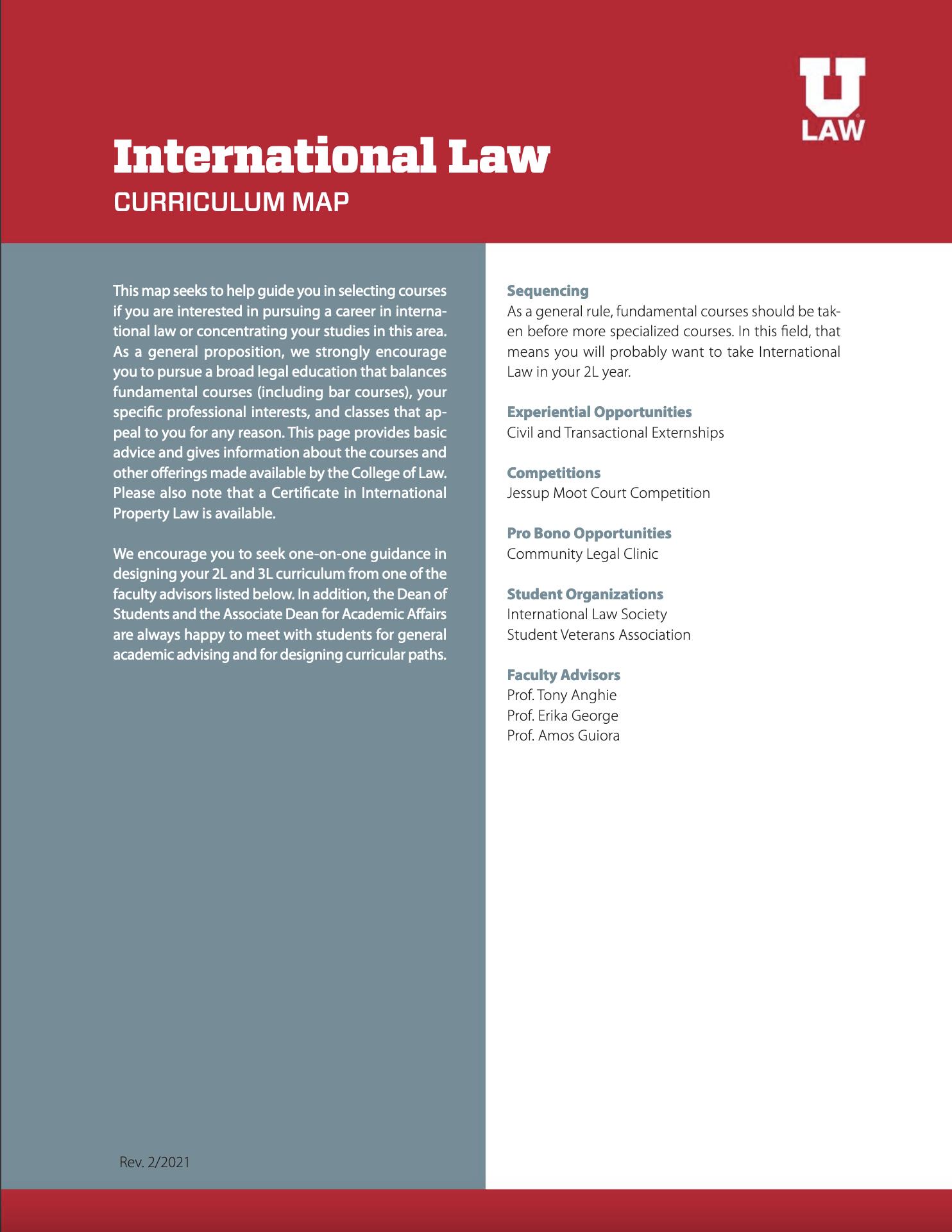 International Law Curriculum Map