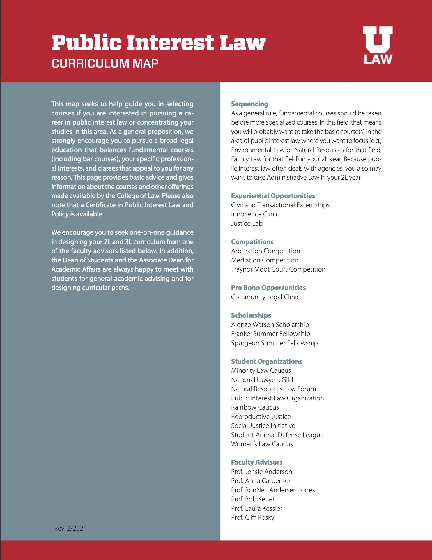 Public Interest Law Curriculum Map