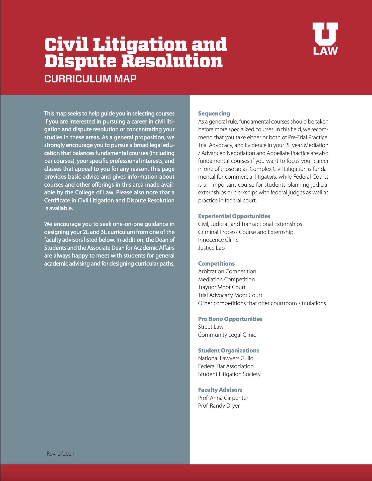 Civil Litigation and Dispute Resolution Curriculum Map