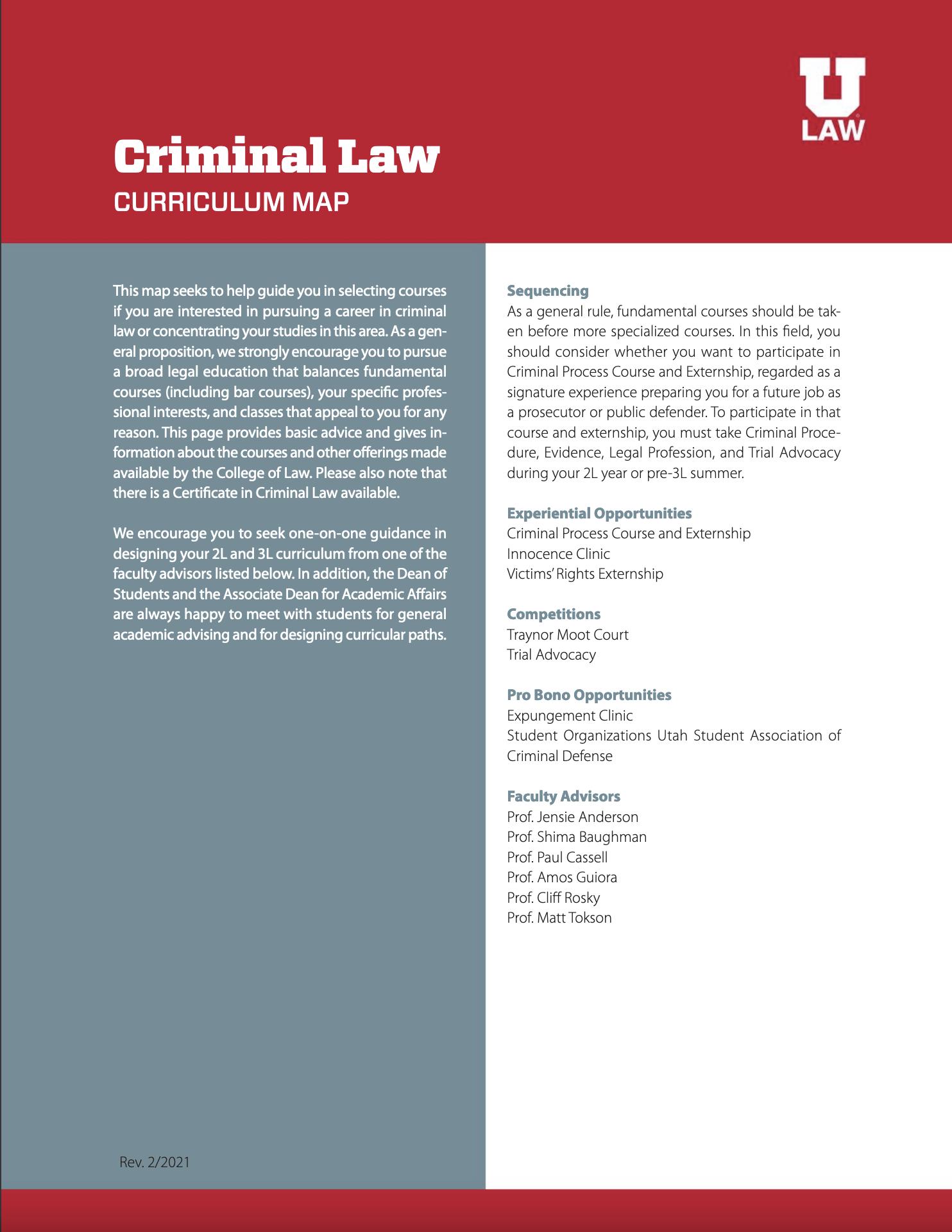 Criminal Law Curriculum Map