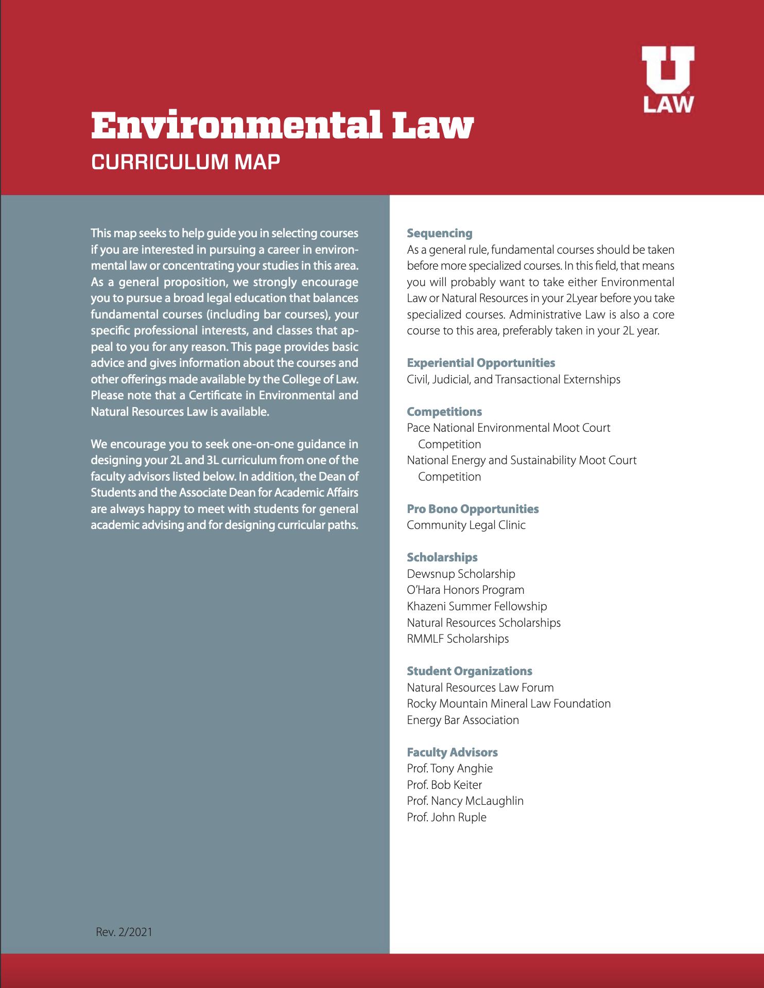 Environmental Law Curriculum Map