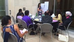 Water Diplomacy Workshop participants practicing negotiation and facilitation skills during a role-play simulation